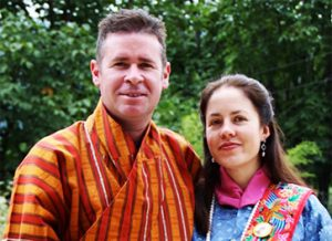 Paul & Belinda in Bhutan's National costume